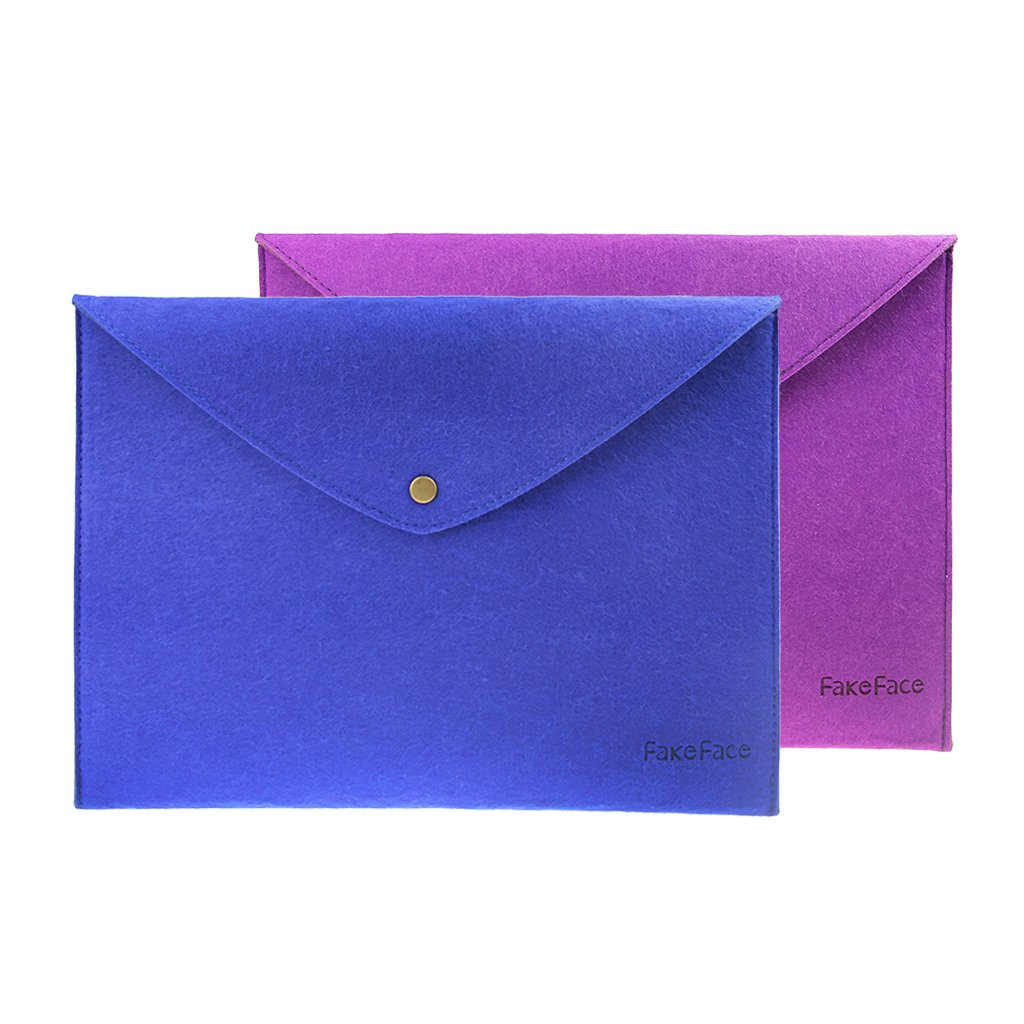 FakeFace Felt A4 Envelope File Button Storage Bag Case Document Bills Paper Container Kit Pouch Briefcases for Office Home School Stationery Two Color Set (Purple+Blue)