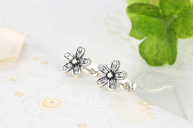 CS-DB Silver Dazzling Daisy Flower Clear CZ Stud Charm Earrings