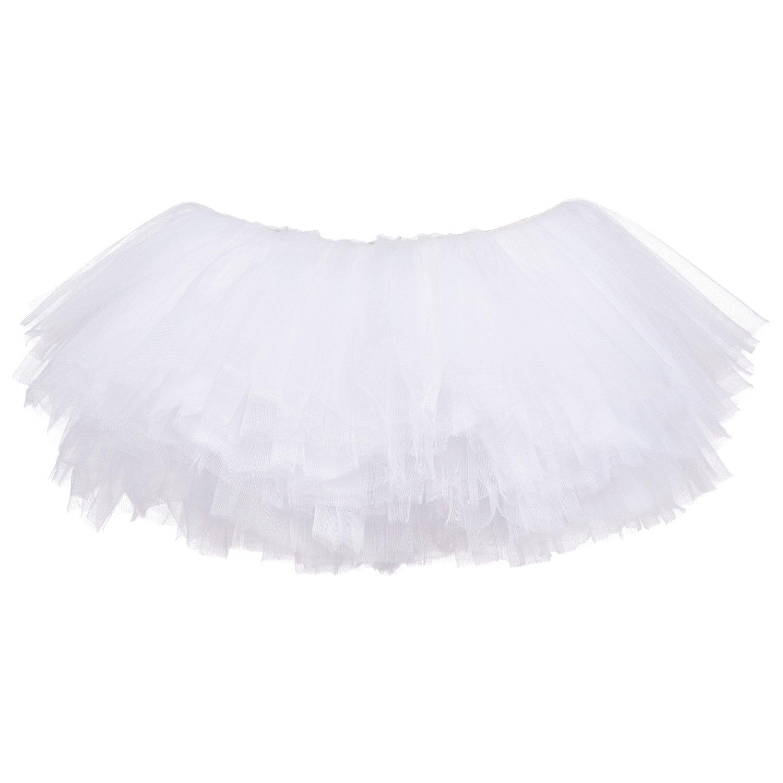 My Lello Big Girls 10-Layer Short Ballet Tulle Tutu Skirt (4T-10yr) -White