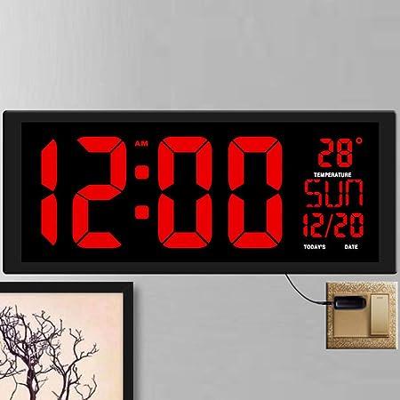 Nuevo Reloj de Pared LED Rojo,Reloj de Mesa,decoración de Oficina de Doble Uso USB diseño Moderno hogar Relojes Grandes dígitos Grandes: Amazon.es: Hogar