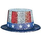 : Stars and Stripes Fourth of July Glittered Top Hat Accessory, Paper, 5""