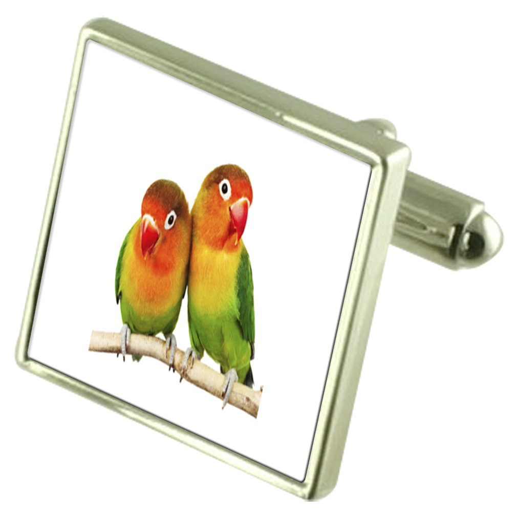 Love Bird Sterling Silver Cufflinks Optional Engraved Box