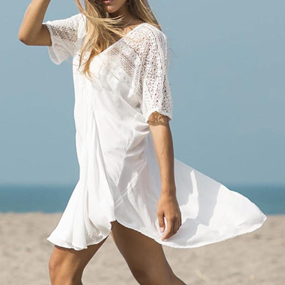 QinMM Delantal de Playa Mujer, Vestido de Camisa de Bikini de Manga Corta Cuello en V Trajes de baño Camiseta Blusa: Amazon.es: Ropa y accesorios