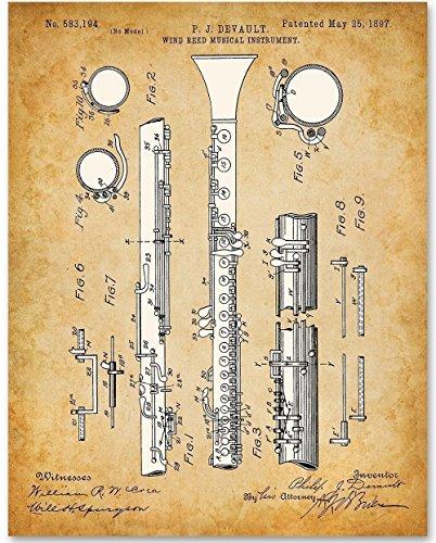 Clarinet Musical Instrument Art- 11x14 Unframed Patent Print