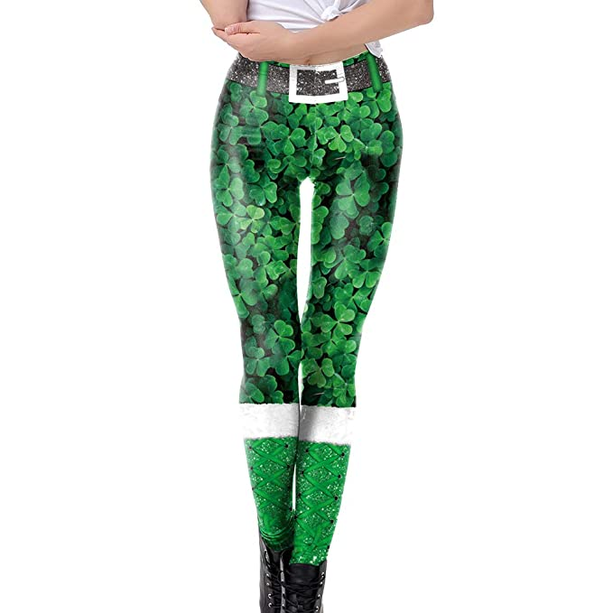 Mxssi Mujeres Pantalones St. Patricks Day Trébol Pantalones Delgado Ejecuta Pilates Gym Pitillo Pantalones De Las Señoras Leggings Deportes Aptitud Que ...