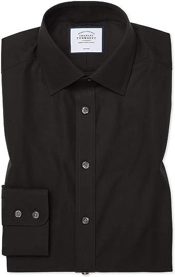Charles Tyrwhitt Camisa sin Plancha Negra de Popelina y Corte clásico sin Plancha: Amazon.es: Ropa y accesorios