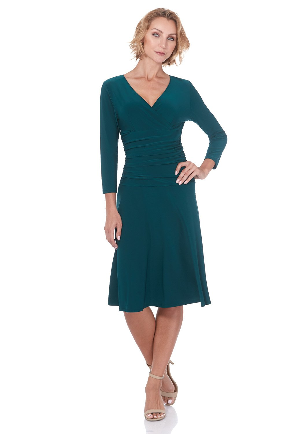 Rekucci Women's Slimming 3/4 Sleeve Fit-and-Flare Crossover Tummy Control Dress (12,Hunter Green)