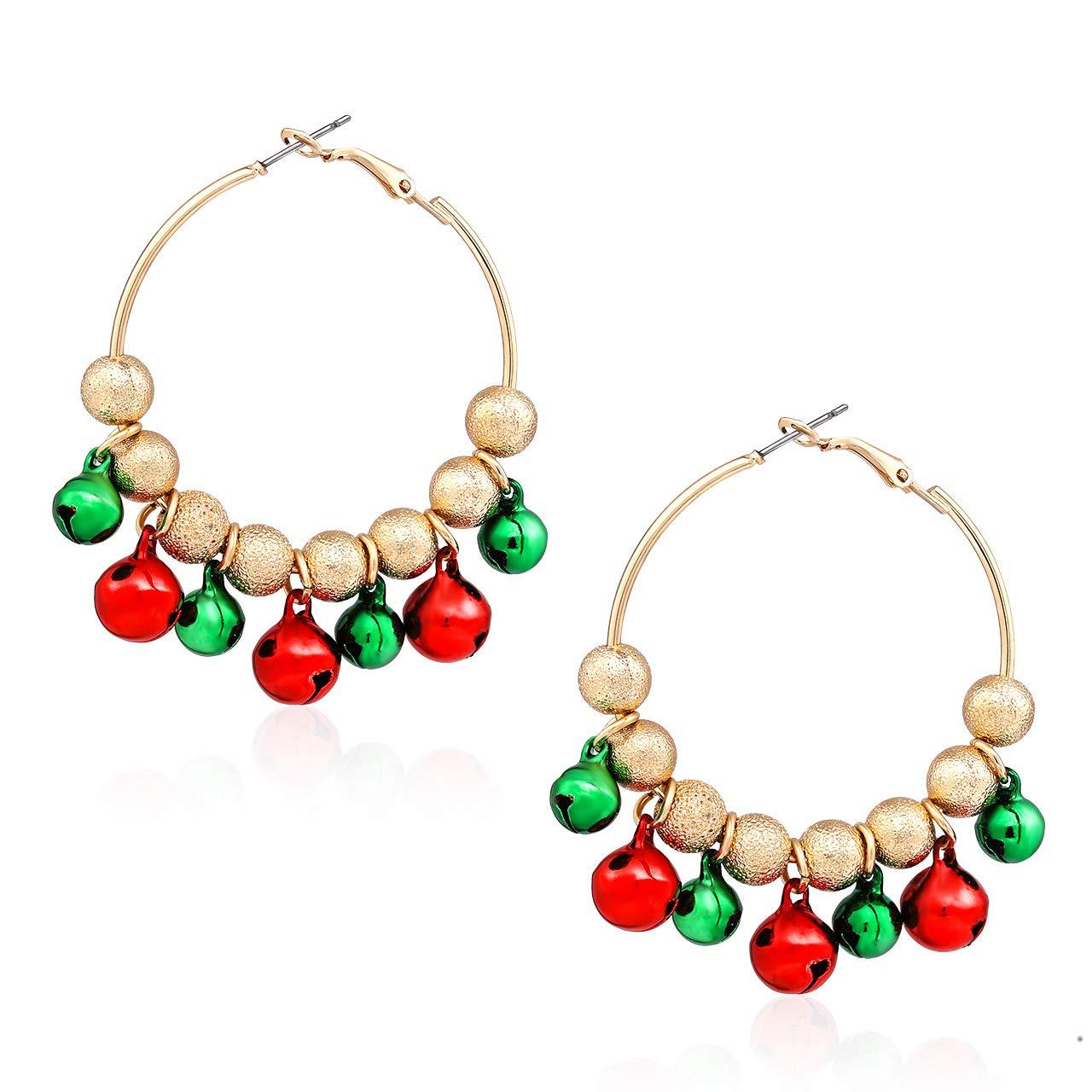 CEALXHENY Christmas Earrings X-Mas Bell Hoop Earrings for Women Holiday Party Dangle Earring Festive Gift for Girls