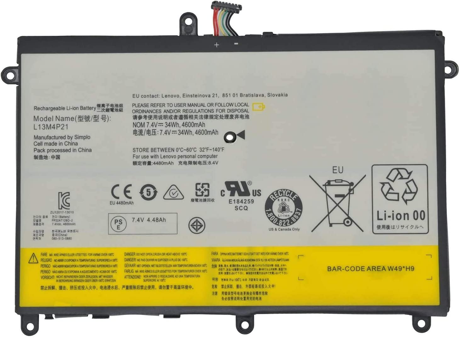 Fully New L13M4P21 L13L4P21 Replacement Laptop Battery Compatible with Lenovo IdeaPad Yoga 2 11 121500223-7.4V 34Wh/4600mAh