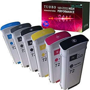 Tuobo Compatible Ink Cartridge Replacement for 72 Ink Cartridge 130ML Use with designjet T1100 T1200 T1100ps T1120 SD-MFP T1120ps T2300 T610 T790 Printer ect (Pack of 6)
