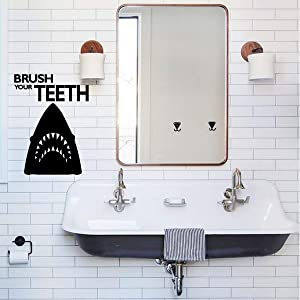 Shark Bathroom Wall Decor | Brush Your Teeth | Cool Vinyl Decal Stickers for Home in Teen, Kids, Baby Girls or Boys Bathroom | Custom Sizes and Colors Fit Any Themed Living Space