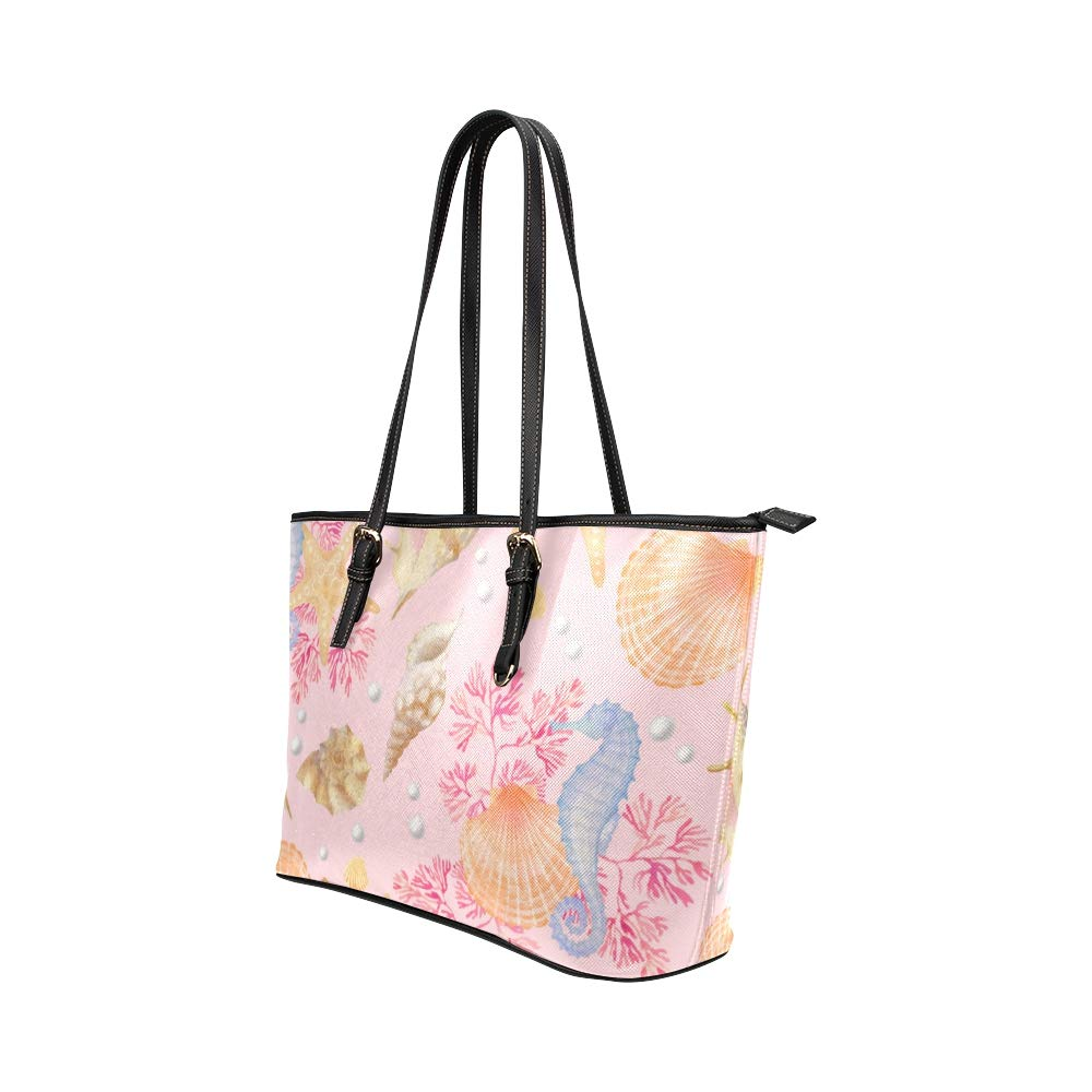 Cute Cartoon Pink Underwater Creature Large Soft Leather Portable Top Handle Hand Totes Bags Causal Handbags With Zipper Shoulder Shopping Purse Luggage Organizer For Lady Girls Womens Work