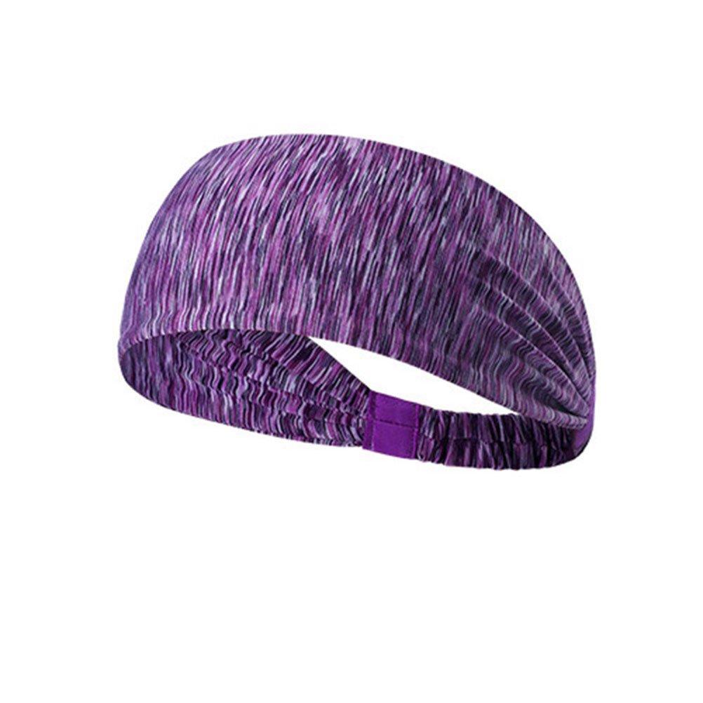 Élastique Wicking Non Slip Bandeau sport Léger Multi Style Bandana Hairband pour le sport Yoga Running Voyage Fitness Hommes Femmes Stripe pourpre