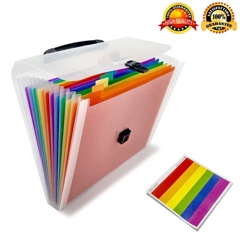 12 Pocket Expanding Project Sorter Heavy Duty Plastic Multi Pocket Rainbow File Folders tab Labels Papers Organizer Letter Size ZLOFADA 0081