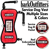 barkOufitters Service Dog Vest Harness 5 Sizes (Red, L (31'' - 39'' Girth))