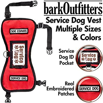 """barkOufitters Service Dog Vest Harness - Available in 2 Colors and 5 Sizes (Red, L (31"""" - 39"""" Girth) )"""