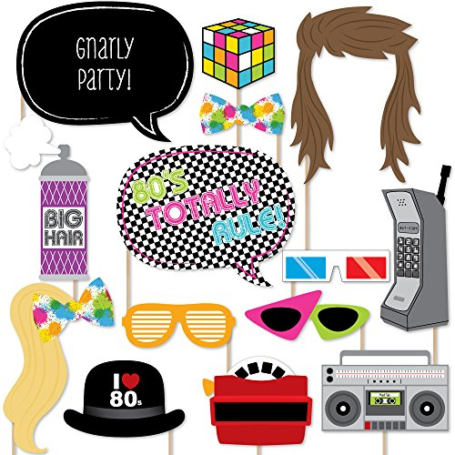80's Retro - Photo Booth Props Kit - 20 (80s Party Supplies)