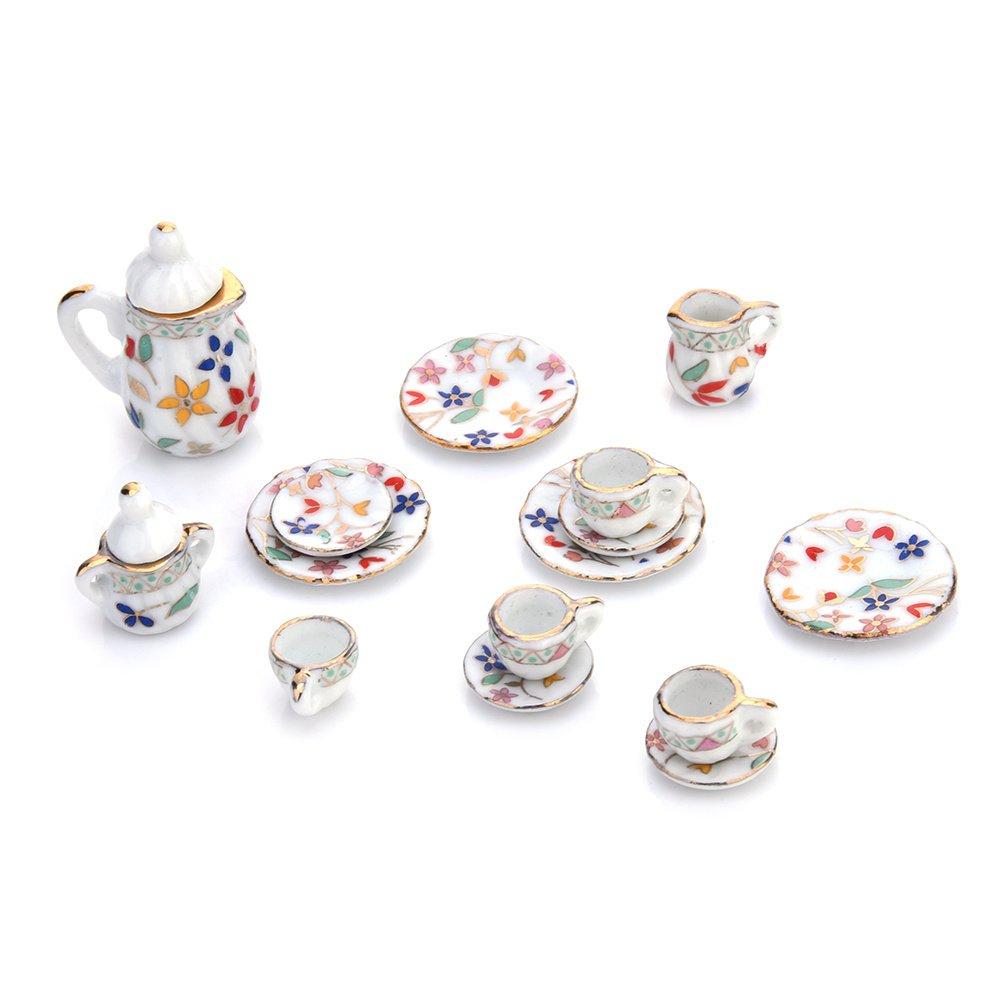 15 PCS Doll House 1:12 Mini Ceramic Tea Cup Set Porcelain Teapot Cup Dish Set Kitchen Accessories gentman