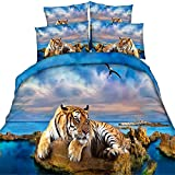 EsyDream 3D Oil Painting Tiger 4PC Bedding Bedspreads No Comforter,100% Cotton 3D Animal Tiger Boys Duvet Cover Sets,Full/Queen Size (4PC/Set)