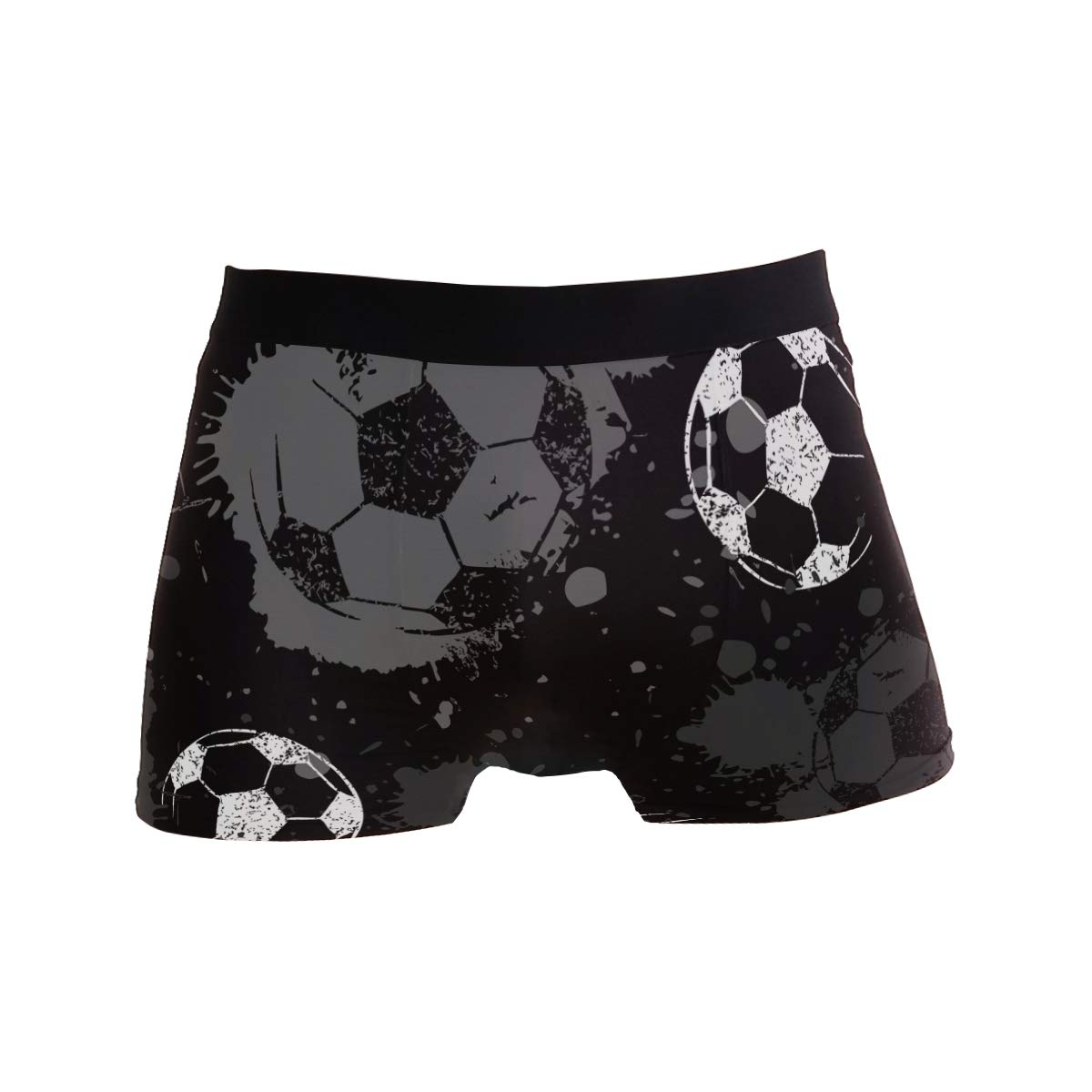 Jereee Black and White Football Pattern Mens Underwear Soft Polyester Boxer Brief for Men Adult Teen Children Kids S
