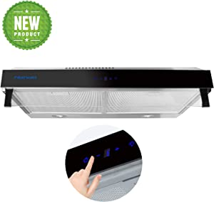 30-in Under-Cabinet Range Hood, 3 Speed Exhaust Fan, Slim Kitchen Stove Vent with LED Light, Reusable Filter (Stainless Steel), Ducted/Ductless Convertible Top/Rear Duct