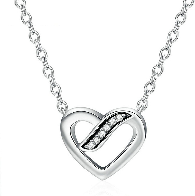 CS-DB Pendants Heart CZ Stone Wedding Silver Necklaces