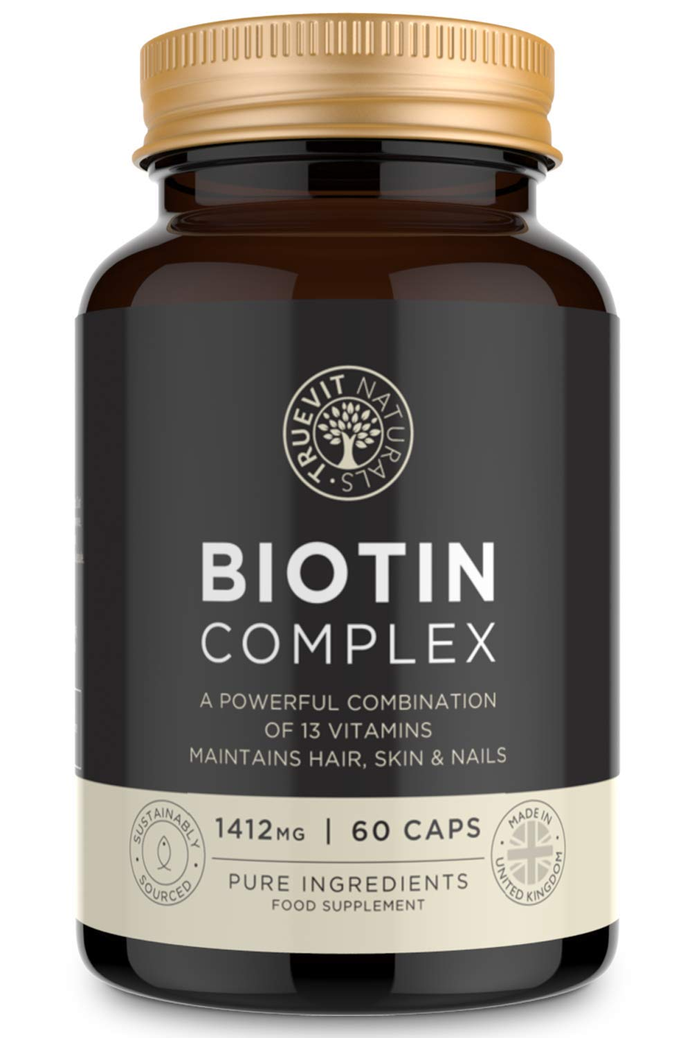 Complex Biotin Hair Growth Supplement - A Powerful Combination of Biotin with Added 13 Hair Boosting Amino Acids, Vitamins and Minerals for Hair Skin and Nails - 60 Capsules WClub Limited