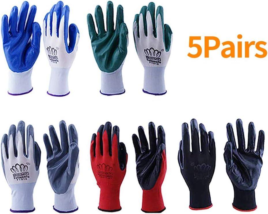Kungfu Mall 6 pares de guantes de trabajo para mujeres y hombres, guantes de jardinería de nailon con revestimiento de nitrilo PU de goma resistente a ácidos, constructores, mecánicos (6 colores)
