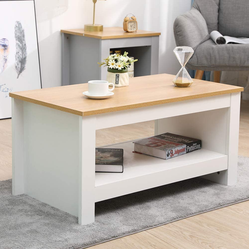 CFDZ Wooden Furniture Coffee Table Small Side Storage Cabinet with Shelf-White+Oak,85x47x42cm