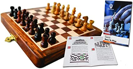 """15/"""" Full Sized Magnetic Wooden Portable Chess Game Set With Minor Defect"""
