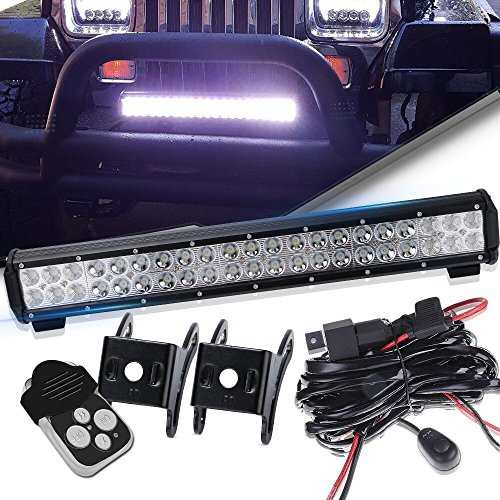Spead-Vmall 20Inch Spot Flood Combo Led Light Bar On Front Rear Bumper Brush Bull Bar Grille Trails For Land Rover Defender Lawn Mower Mazda Toyata Tacoma Kubota Rtv Gravely F150 Polaris Ranger Xterra (Bumper Silverado Rear 1500 Chevrolet)