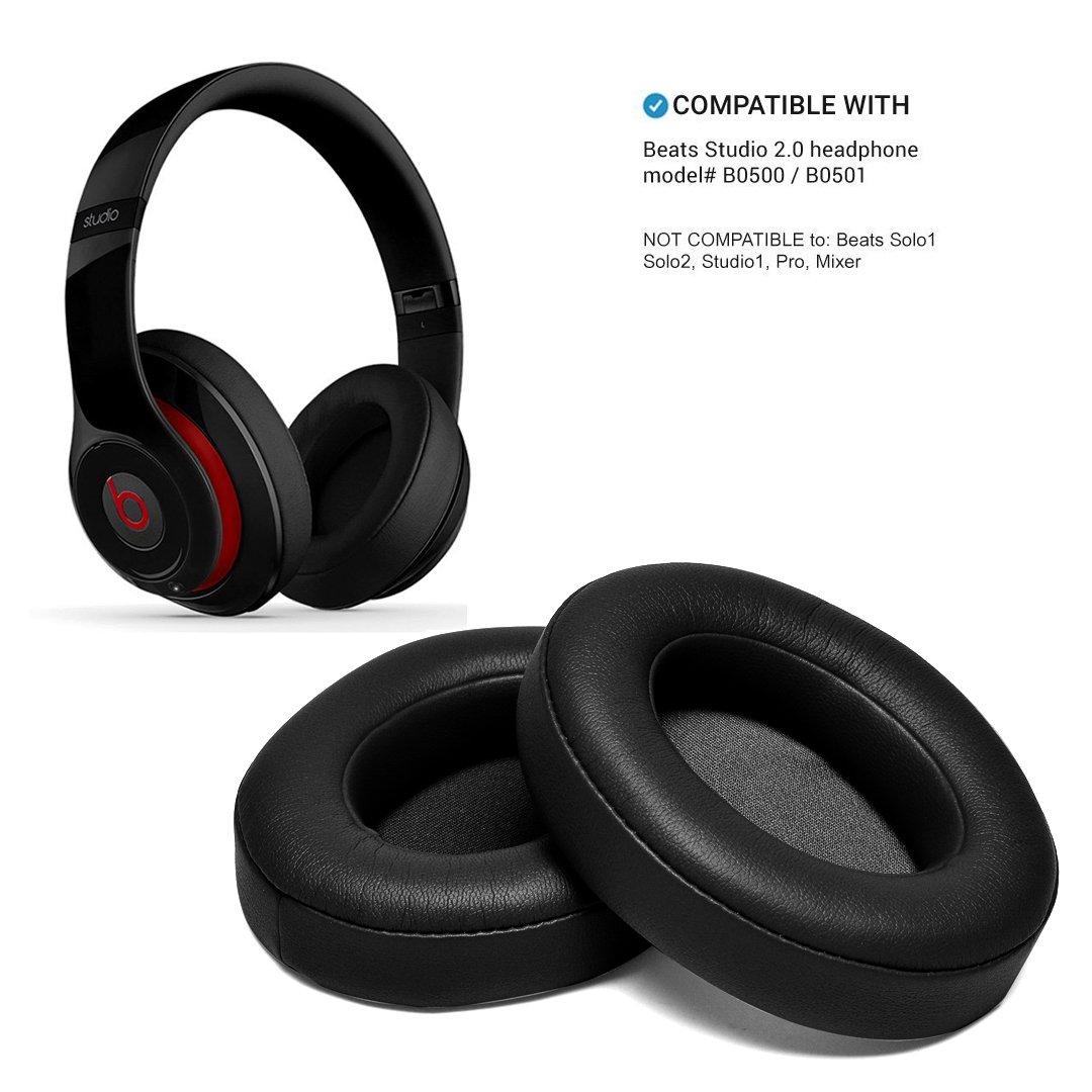 Black Replacement Earpads, AGPtEK 2 Pieces Foam Ear Pad Cushion for Beats Studio 2.0 Wired/Wireless B0500 B0501 Headphone & Beats Studio 3.0