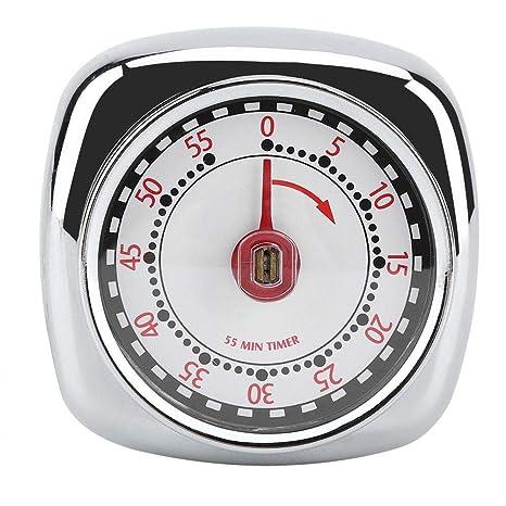 Temporizador mecánico de cocina de acero inoxidable, Minutero mecánico magnético Temporización de 55 Minutos con Imán Sonido de alarma con base ...