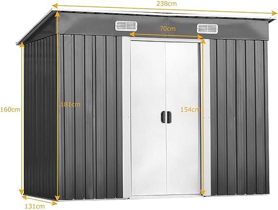 COSTWAY Cobertizo de Metal de Jardín Exterior con 2 Puertas 238 x 131 x 181 Centímetros Caja de Almacenamiento Caseta de Herramienta: Amazon.es: Jardín