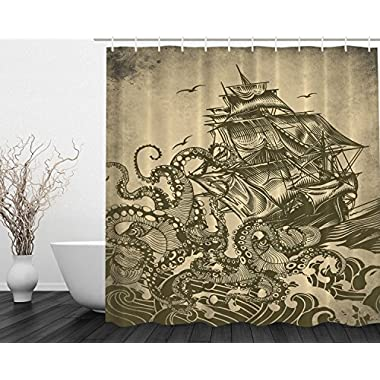 Ocean Shower Curtain Sail Boat Waves and Octopus Kraken Tentacles Country Decorations for Bathroom Sepia Print Polyester Fabric Shower Curtain, Yellow Olive