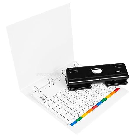 De color blanco A4 carpeta de almacenamiento 4 documentación perforadora de papel organizador de índice para