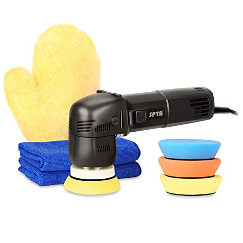 SPTA 3 Inch 10mm 700W 6 Variable Speed Orbital Polisher DA Car Polisher Orbit Dual Action Polisher Detail Boat Polishing Auto Detailing Tools Come With 3 DA Polishing Pads 2 Microfiber Towels 1 Glove