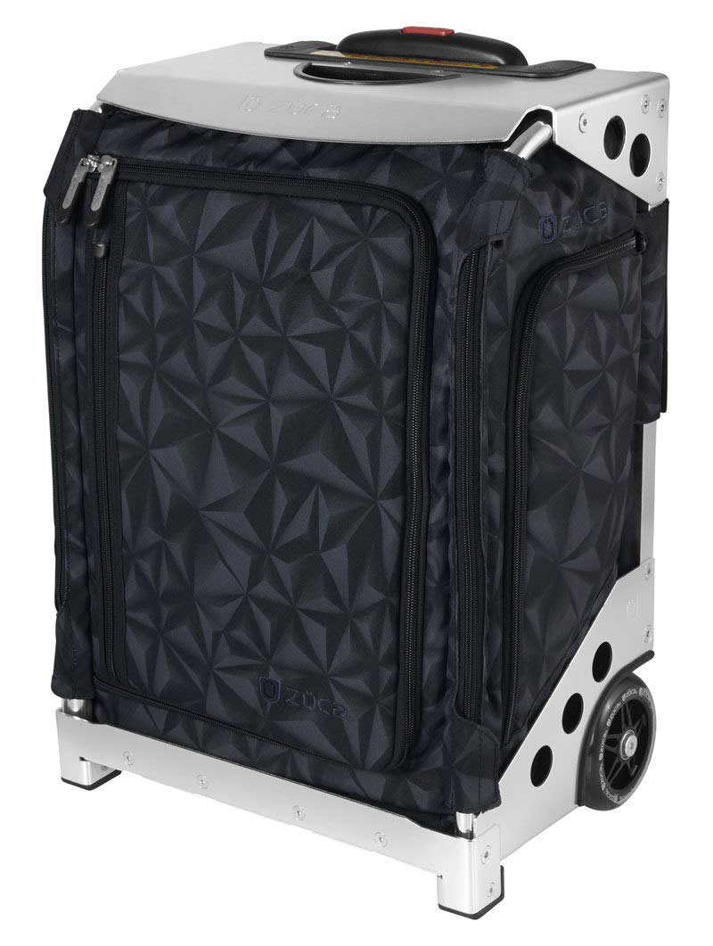 ZUCA Navigator Carry-On Bag with Built-in Seat, Strata Black Print, Silver Frame