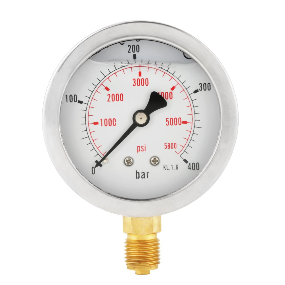 0-5800PSI G1/4 63mm Dial Hydraulic Pressure Gauge Meter Wal front