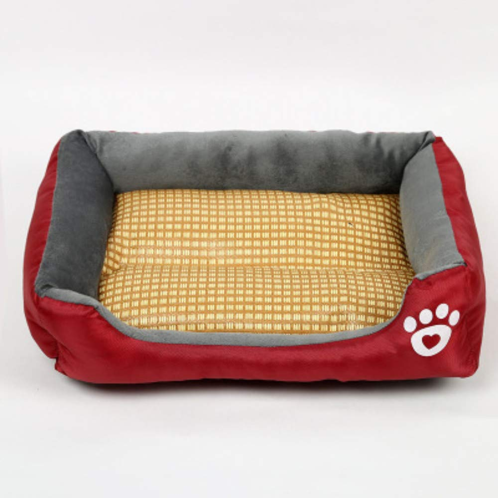 66x50cm WALSITK Summer mat kennel printing woven large, medium and small dogs pet nest waterproof cat litter wine red 66x50cm