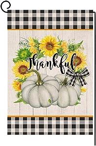 Fall Thanksgiving Pumpkin Garden Flag Vertical Double Sided Farmhouse Autumn Sunflower Thankful Burlap Yard Outdoor Decor 12.5 x 18 Inches (141075)