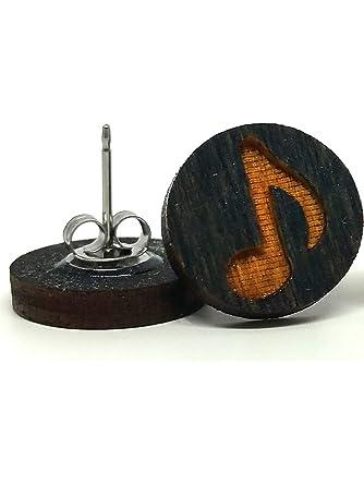 Eight Note/ Music Music Note Earrings - Black Wood