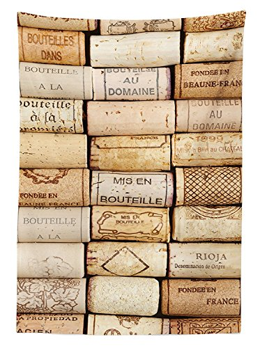 Winery Decor Tablecloth Different Wine Corks Arranged in a Line Collections French Aged Fine Wine Art Dining Room Kitchen Rectangular Table Cover