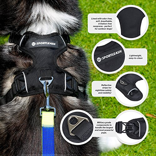 SportHarness - No-Pull Front Range Dog Harness & Car Seat Harness | Odor-Free Irritation-Free Neoprene Lining | Safe Reflective Stitching | 2 Leash Attachment Options | Small Medium Large Dogs