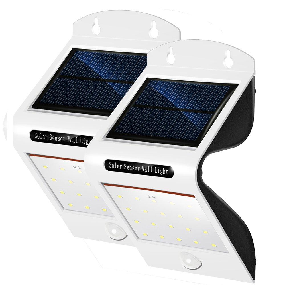 PUNICOK 2er Set Solarbetriebene LED Leuchten mit Bewegungsmelder - IP65 wasserdichte Außen Solarlampen - 20 einzelne LEDs - sehr hell 6500K Weiss - Beleuchtung f. Haus Wand, Garten, Zaun, Terrasse, Gehweg - Einfache Montage ohne Kabel
