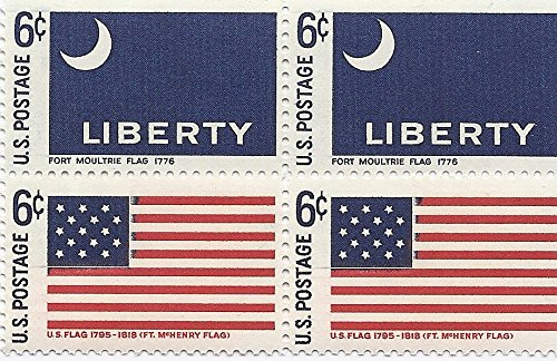 Four Flags Block - 1968 US Postage Stamp Block Of 4 Flags 6 Cent MNH Scott #1345 And #1346