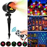 Christmas Decorations LED Laser Light, Indoor Outdoor Projector Lights with Remote Control, Waterproof 4 Patterns Red and Green Laser Light Show Landscape Garden Spotlight for Holiday Party Decor