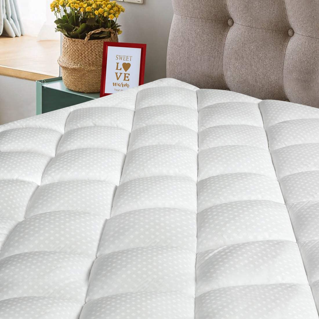 King Size Mattress Pad 300TC Cotton Top Pillow Top Mattress Topper 8-21 inch Deep Pocket Fitted Mattress Protector Cover Fill 3D Snow Down Alternative (King, White Classic)
