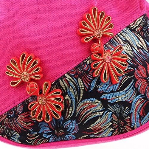 Fleur National Sac à Fait à pour Main Broderie Rose Main Fille Bijoux Sharplace Style Femme dxYBIqqU