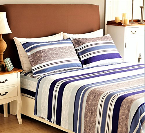 Bed Sheet Set 4-Piece,Brushed Microfiber 1500 Bedding. Extra Deep Pocket(18In) Fitted Sheet, Flat Sheet & 2 Pillowcase.(Queen , Purple/Blue)